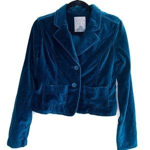 Bb Dakota Teal velvet Blazer Jacket Button Down M